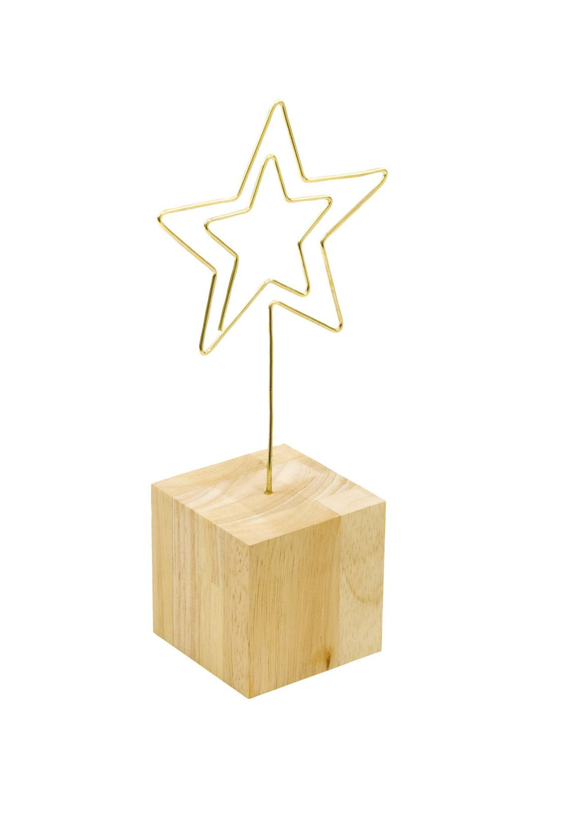 Desk Photo Clip Light Wood Block Star