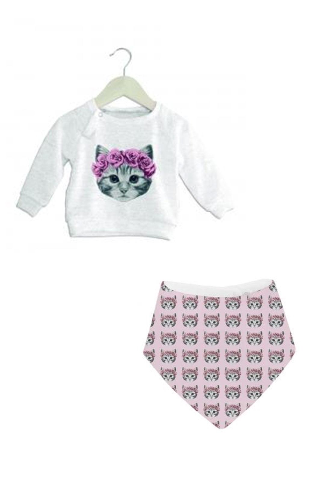 Pack Poleron y babero gata rosa