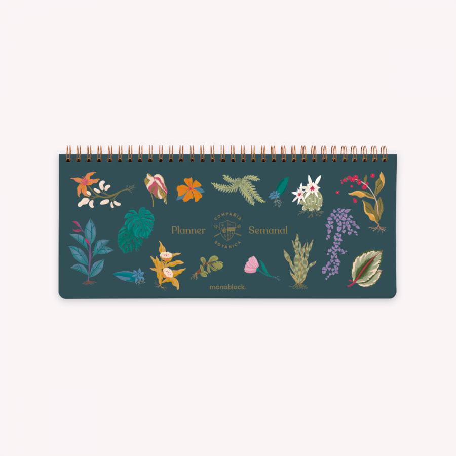 Planificador Semanal Anillado 28x12 cm Botánica Noche