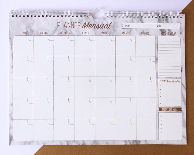 Planner mensual de pared, Mármol