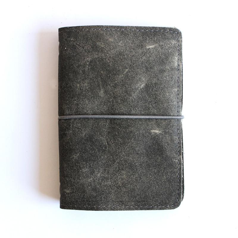 Libreta Pocket cuero gris