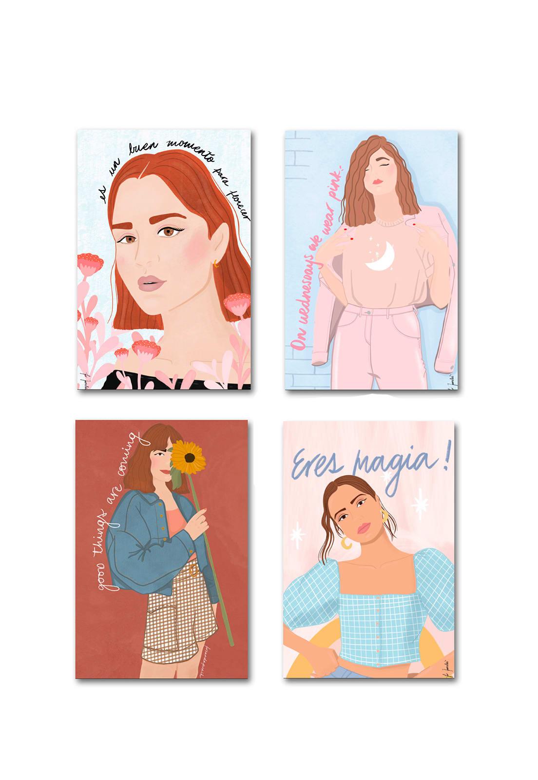 Set 4 Imanes Ilustrados Fer Morales