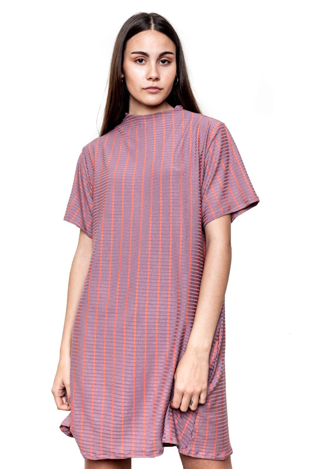 Vestido Cuello Rayado Rosa M/Corta
