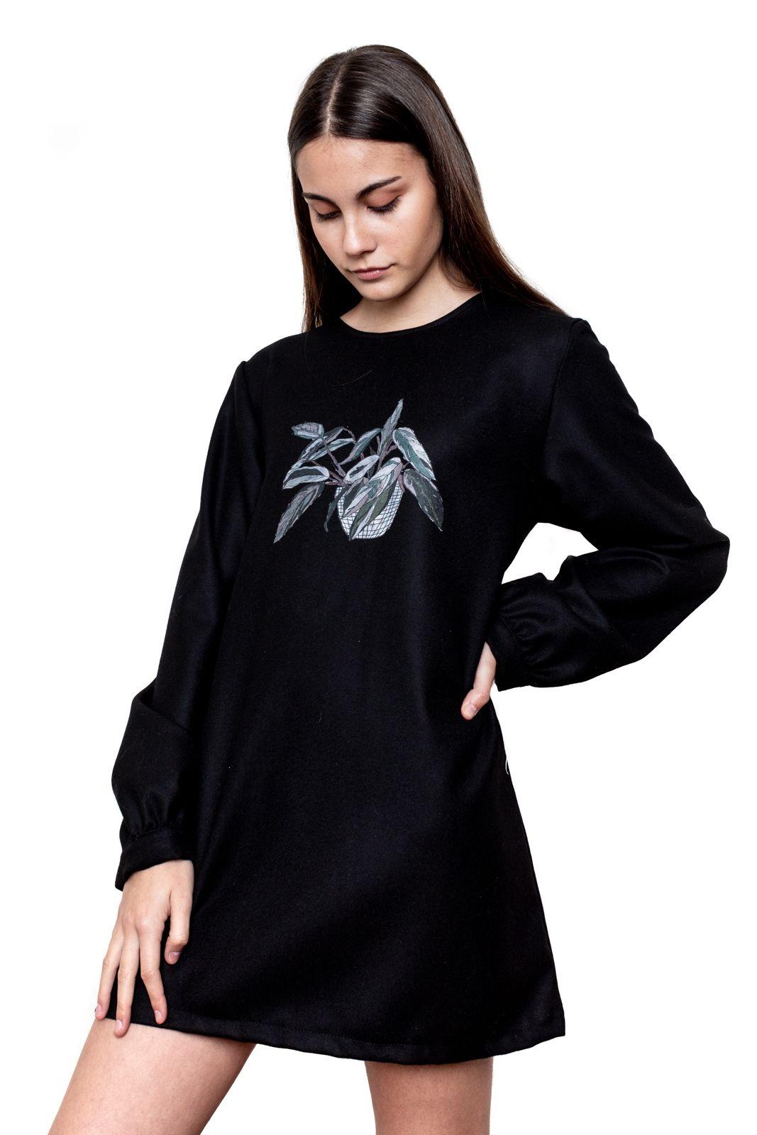 Vestido negro lanilla Calathea
