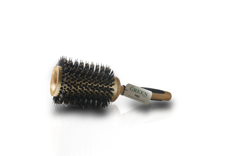Extra large Professional Thermal Hot Curl Brush-Wild Boar/Nylon, Wood Handle
