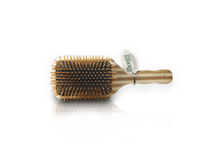 Large Square Paddle Brush: Cushion, Wood Bristle.Stripped Bamboo Handle Only