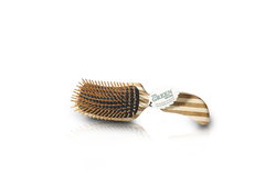 Semi S Shaped: Wood Bristles. Stripped Bamboo Handle Only