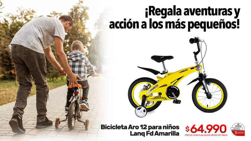 bicicleta aro 12 para ninos lanq fd amarilla