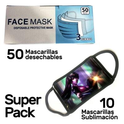 Pack 10 mascarillas sublimación + caja 50 mascarillas desechables Face Mask