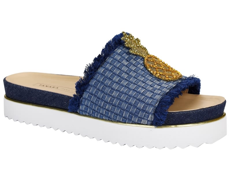 T1605 0002 SAND.TIPO BIRKENS TEJIDO TELAR Azul Jeans y PIÑA