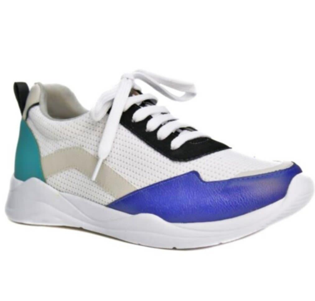 zapatilla fashion azul blanca esmeralda