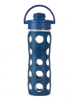 Botella de vidrio con tapa flip y funda de silicona (475 ml)