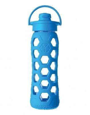 Botella de vidrio con bombilla y funda de silicona (650 ml)