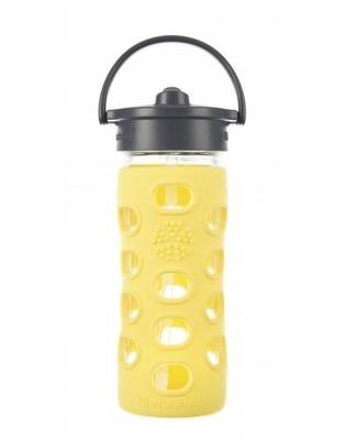 Botella de vidrio con bombilla y funda de silicona (350 ml)