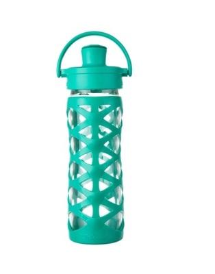 Botella de vidrio con tapa active y funda de silicona (475 ml)