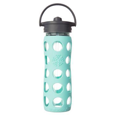 Botella de vidrio con bombilla y funda de silicona (475 ml)