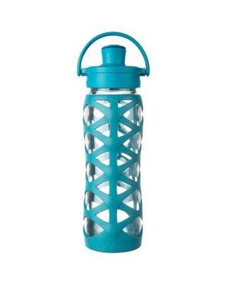 Botella de vidrio con tapa active y funda de silicona (650 ml)