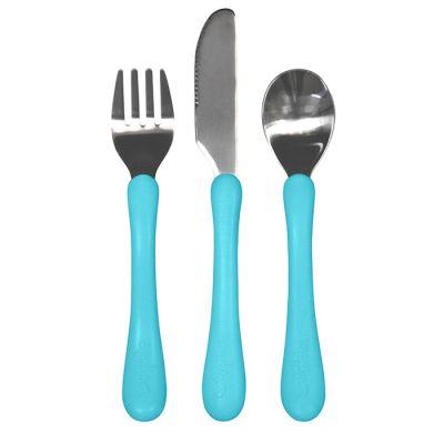 Cubierto de acero inoxidable azul