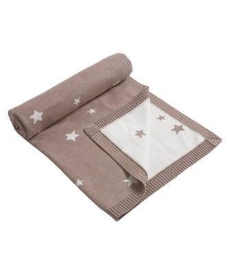 Manta tejida punto estrella rosa