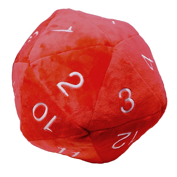 Dado D20 Jumbo de Peluche - Rojo