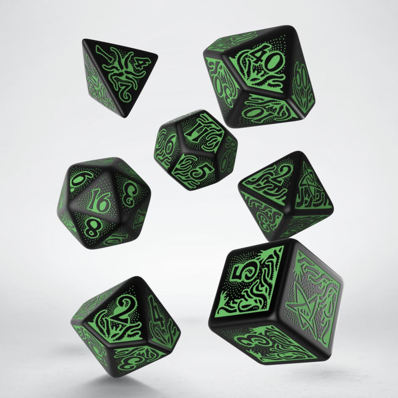 Set D7 Dados Call of Cthulhu  7th Edition - Black & Green