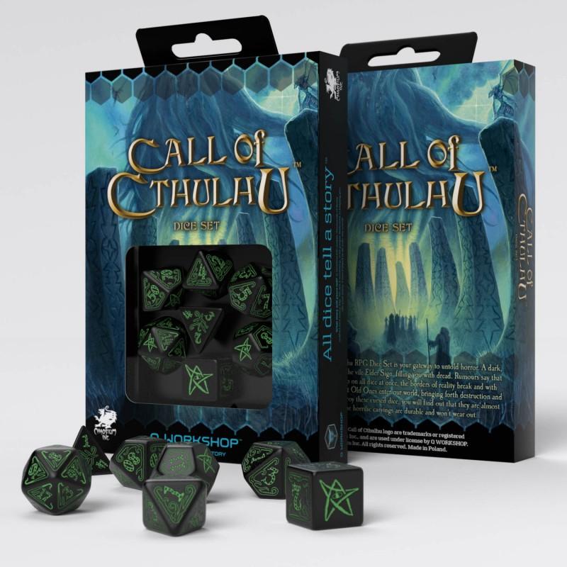 Set D7 Dados Call of Cthulhu - Black & Green
