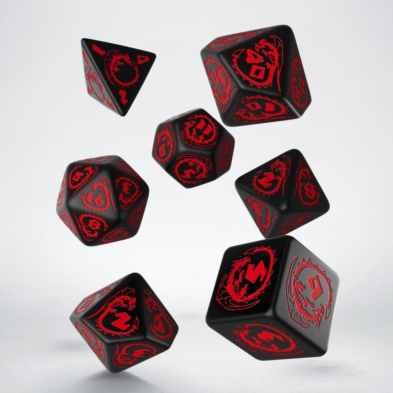 Set D7 Dados Dragons Black & Red