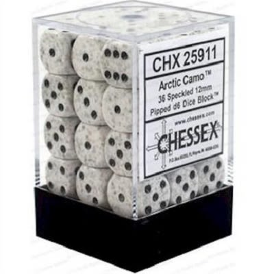Block de 36 Dados D6 Caras de 12mm. Speckled Artic Camo