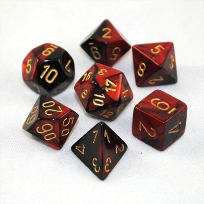 Set D7 Dados Vortex - Burgundy Gold