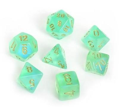 Set D7 Dados Borealis - Light Green Gold
