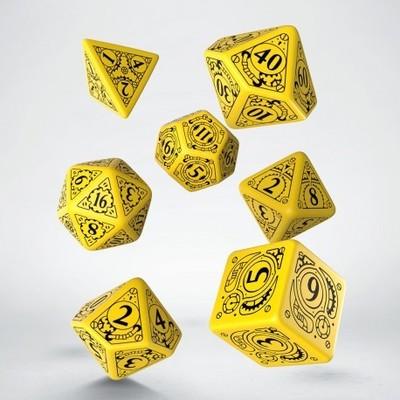 Set D7 Dados Steampunk - Yellow & Black