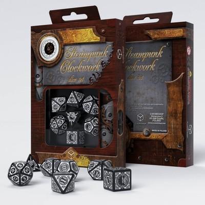Set D7 Dados Steampunk Clockwork - Black & white