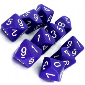 Set D10 Dados de 10 Caras Opaque Purple - White