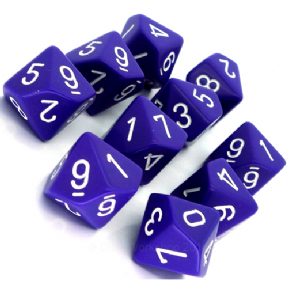Set D10 Dados de 10 Caras Opaque Purple - White