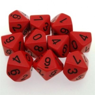 Set D10 Dados de 10 Caras Opaque Red - Black