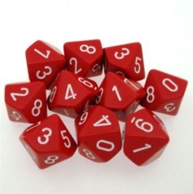 Set D10 Dados de 10 Caras Opaque Red - White