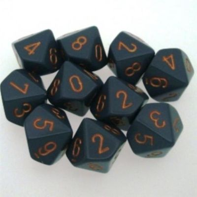 Set D10  Dados de 10 Caras Opaque Dark Grey - Copper