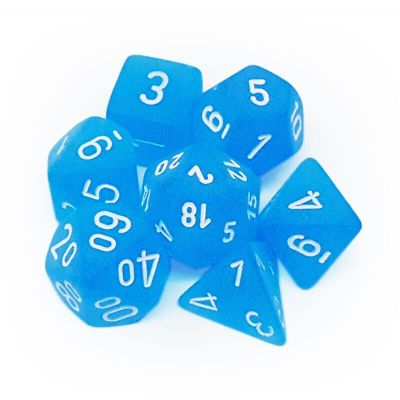 Set D7 Dados Frosted - Caribbean Blue/White