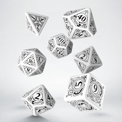 Set D7 Dados Steampunk - White & Black