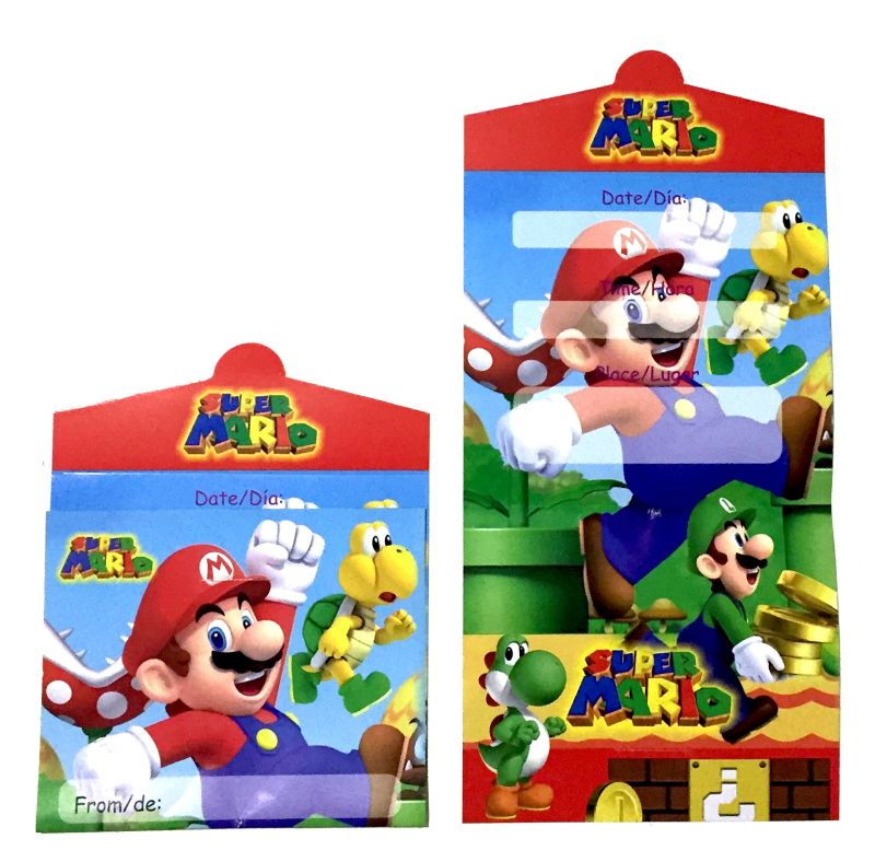 Tarjeta Invitacion Mario Bros 10un Full Fiesta