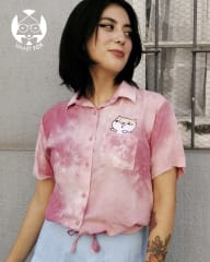 Camisa corta rosa - bordado