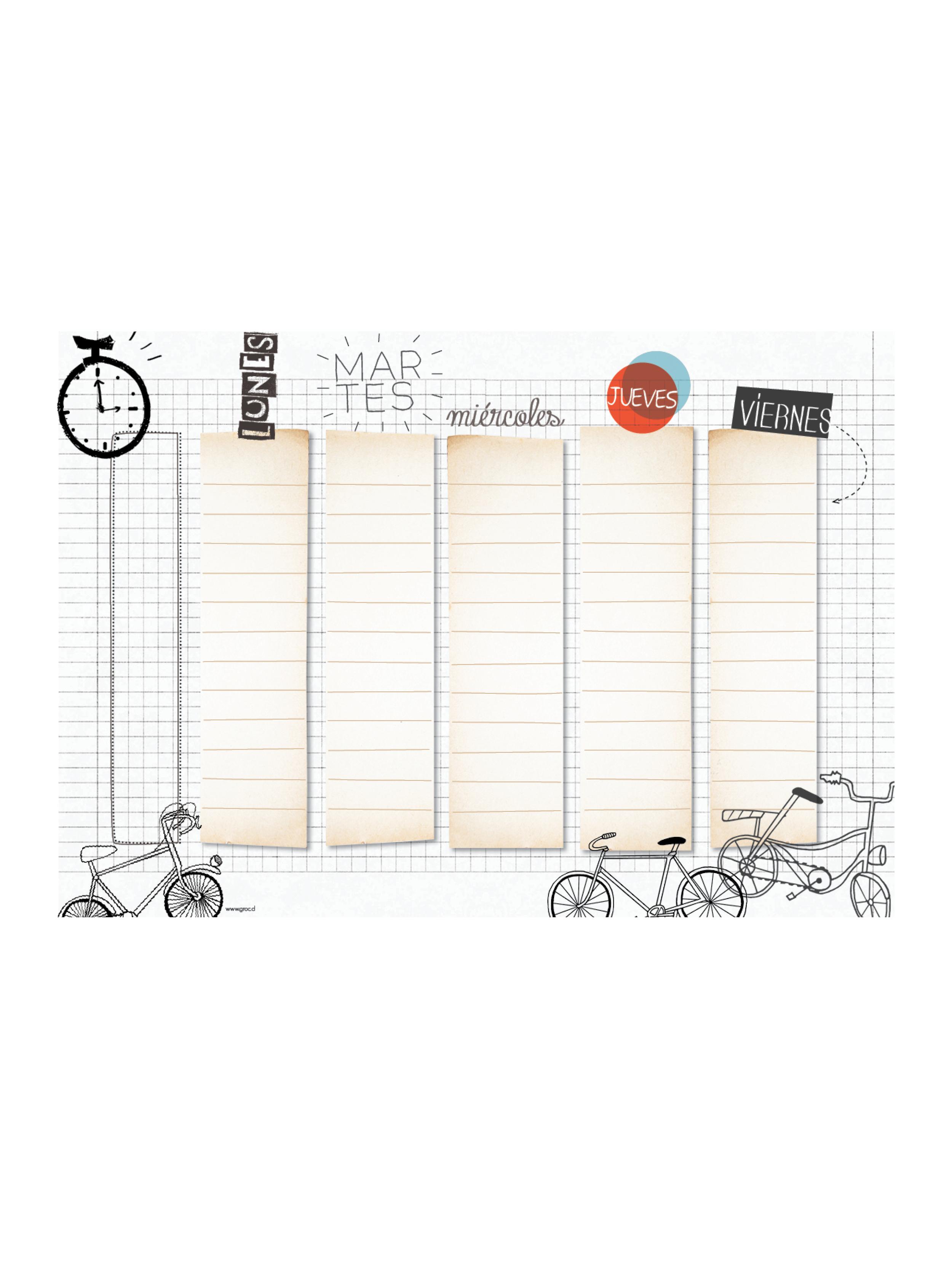 Horario papel grande bicicleta