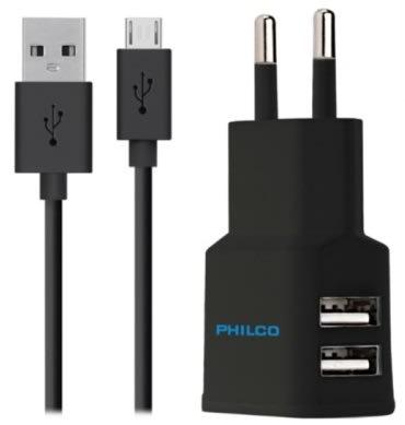 Cargador Doble Usb Con Cable Negro Philco1