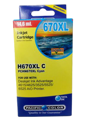 Cartridge 670 Xl Cyan Pacific Color1