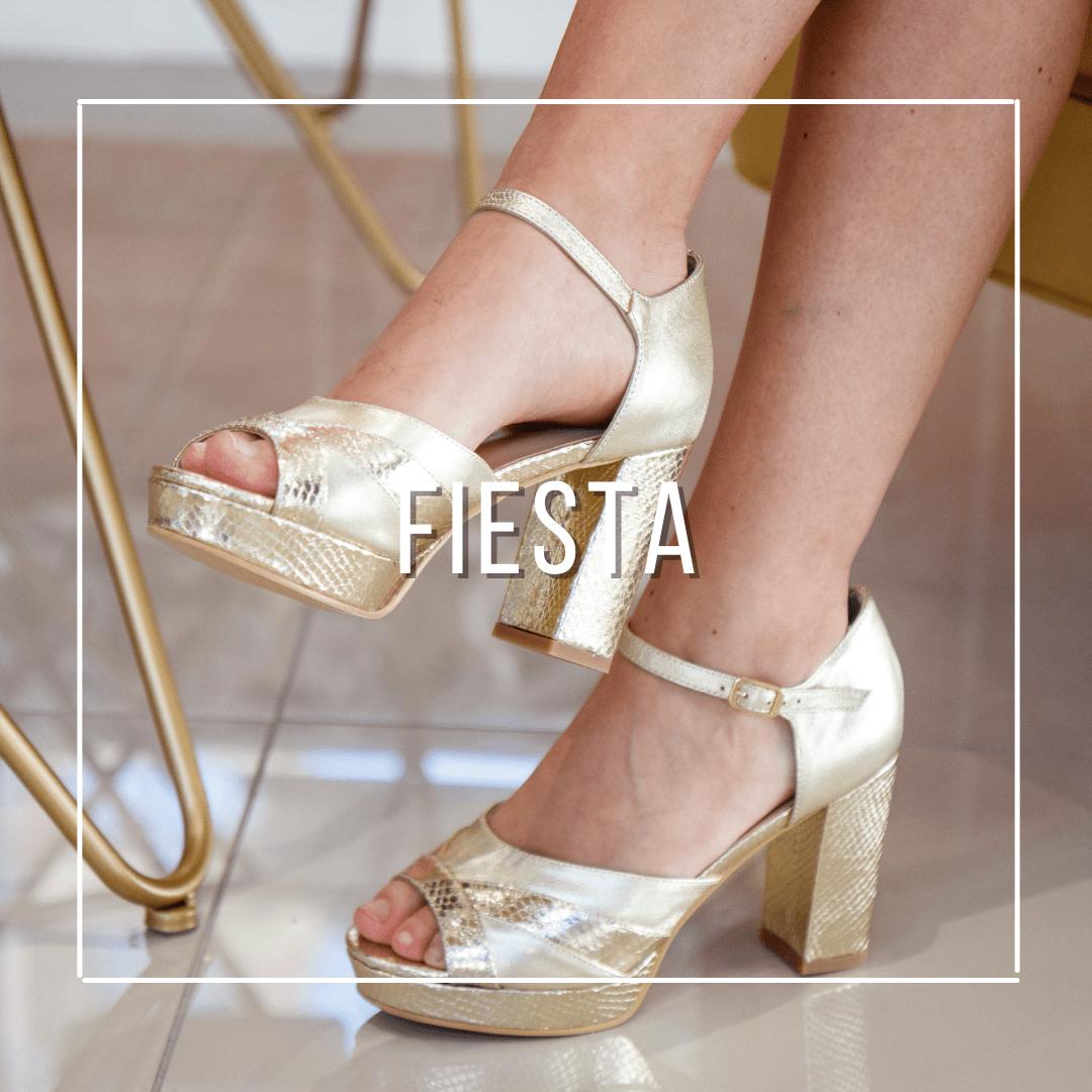 Sandalias y zapatos de fiesta, matrimonio, novia, madrina, en colores metalizados dorado y plateado