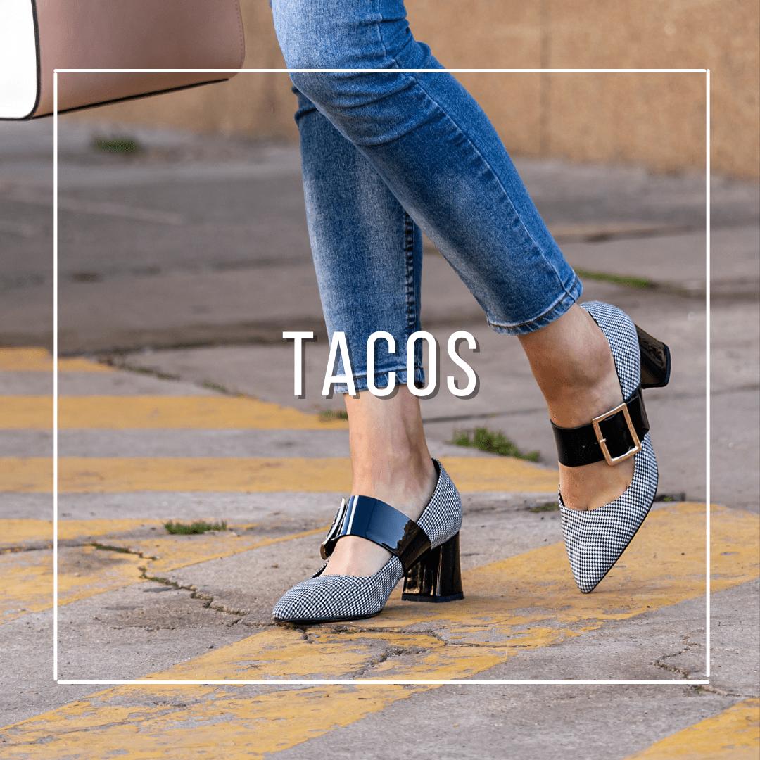 Tacos, stilettos, tacones y zapatos de mujer, con diseños exclusivos hechos de cuero