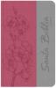 Biblia Letra Grande con Himnario - Rosa oscuro y gris (Flores)