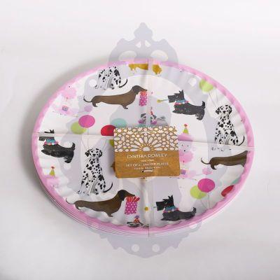 Platos melanina Cynthia Rowley 6 platos con perros 1