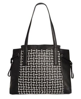 FRENCH CONNECTION WOVEN TOTE BLACK WHITE