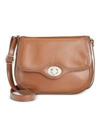 GIANI BERNINI BROGUE LARGE SADDLE BAG TOBACCO